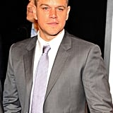 Matt Damon's hair has begun to grow in after shaving his head for Elysium.