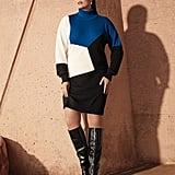 Joan Vass Colorblock Turtleneck Cotton Sweater Dress