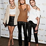 This trio of Victoria's Secret supermodels amped up their otherwise casual outfits with the addition of chic choker necklaces.