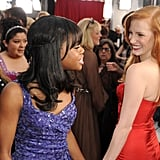 Jessica Chastain passed by Olympian Gabby Douglas on the red carpet.