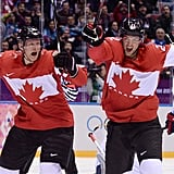 Canada's men's hockey team erupted with joy after their victory over Team USA.