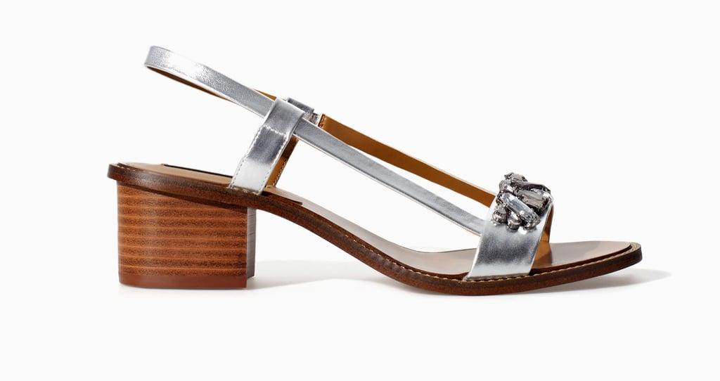 Zara metallic silver block-heel sandal with rhinestones ($70)