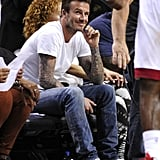 David Beckham watched the Miami Heat play the Indiana Pacers.