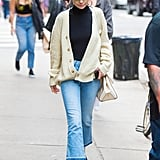 A Bodysuit, Jeans, and Grandpa Cardigan in NYC in September 2017