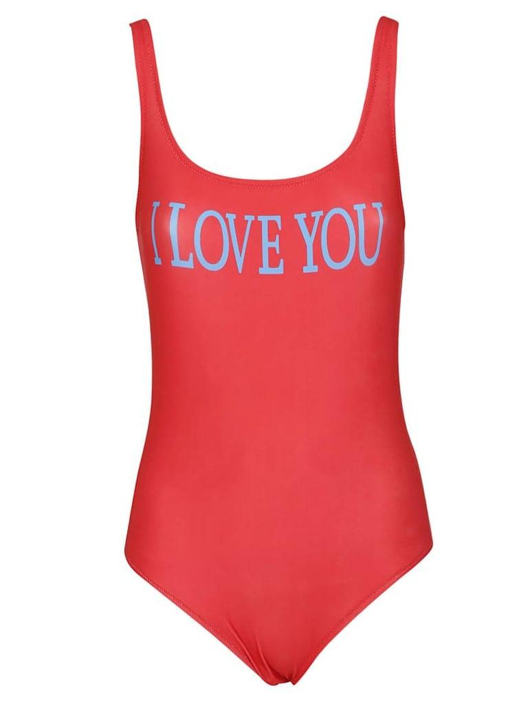 bd1518781ab Alberta Ferretti I Love You Swimsuit | Khloe Kardashian Red Louis ...
