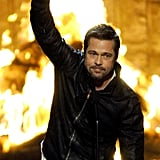 Brad Pitt threw his fist in the air during the Guys Choice Awards in 2009.