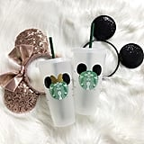 Mickey and Minnie Mouse Ears Personalized Iced Coffee Cup Set