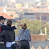 Olivia Wilde and Jason Sudeikis stopped to check out the view.