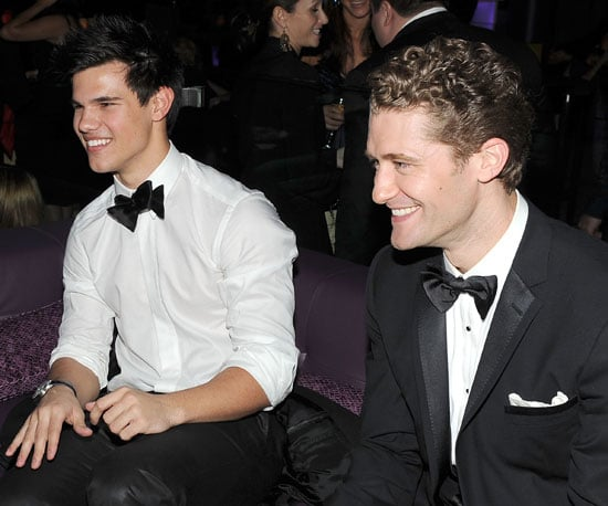 Slide Photo of Taylor Lautner and Matthew Morrison at Golden Globes Afterparty