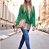 Against neutral hues and denim, this vibrant blazer makes the look a standout.   Photo courtesy of Lookbook.nu
