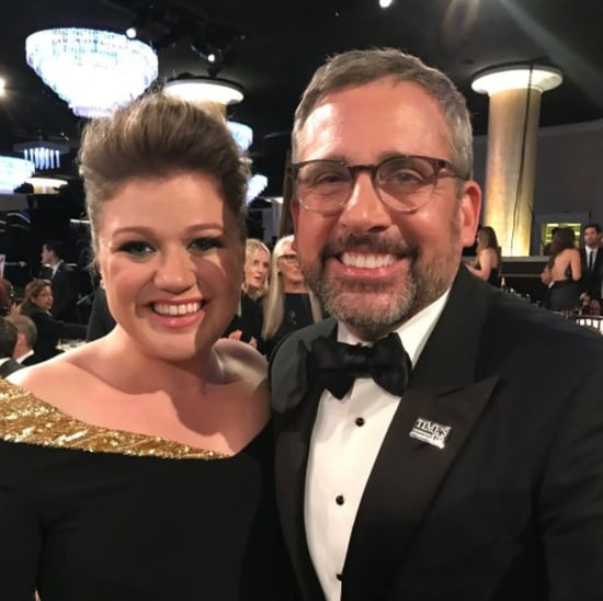 Kelly Clarkson Meeting Steve Carell at 2018 Golden Globes