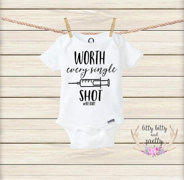 In vitro Fertilization Bodysuit Worth Every Needle bodysuit Gift for new baby IVF IVF Baby Bodysuit Infertility treatments