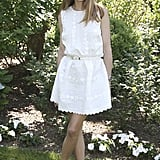 Olivia's LWD is the kind we'd live in all Summer. Sweet embroidery and a classic fit-and-flare shape make it easy to dress up or down for a workday, a Summer party, or a lazy Sunday brunch.   Source: John Minchillo for AP/Invision