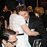 Zach Galifianakis gave Sarah Silverman a big hug.