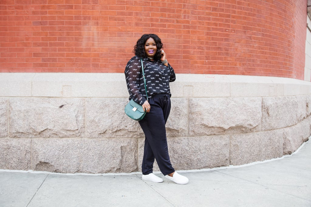 "Chante looks amazing in her black trousers and embellished sheer sweater. Sneakers are still having a moment, but she was able to elevate them by wearing them with a strong lip and great bag. ""If I'm not being ashamed of my body and embracing what I have, then I feel I should see more of it in media."""