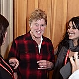 Robert Redford greeted fans on the first day of Sundance on Friday.