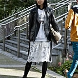 10. A lace skirt gets a grungy make-under with a vintage t-shirt, tights, and a leather jacket.