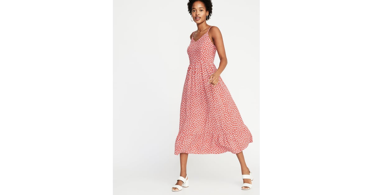 Old Navy Fit Amp Flare Floral Cami Midi Dress The Most