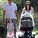 Alyson Hannigan and husband Alexis Denisof took a family walk with daughters Satyana and Keeva in LA.