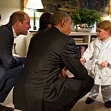 Prince George became the latest member of the royal family to spend time with the Obamas.