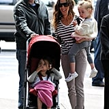 Sarah Jessica Parker carried Loretta while Tabitha got a ride in the stroller.