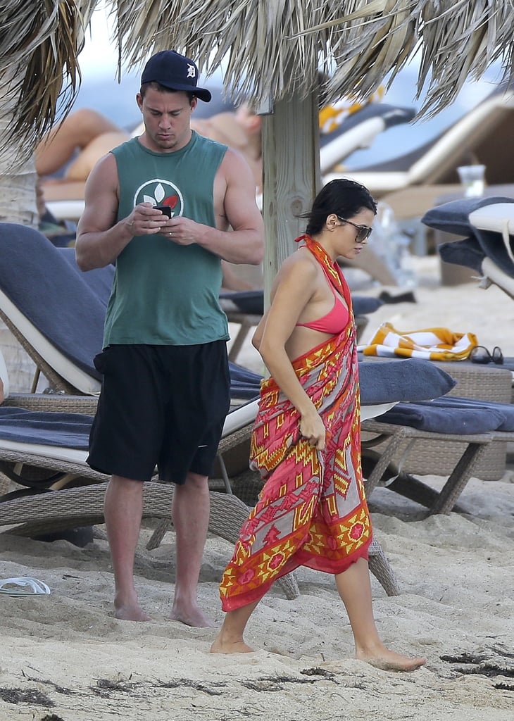 Channing Tatum and Jenna Dewan walked in the sand.