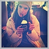 Alessandra Ambrosio enjoyed some hot cocoa while at Sundance. Source: Twitter user AngelAlessandra