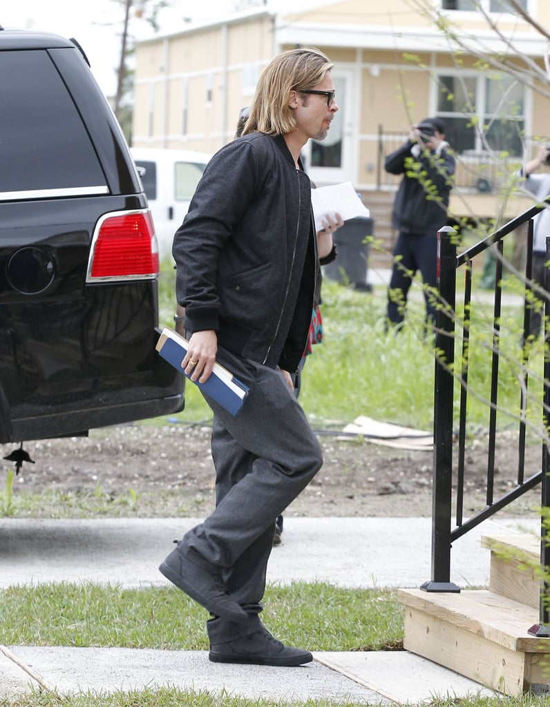 Brad Pitt was snapped arriving at the newly rebuilt home.