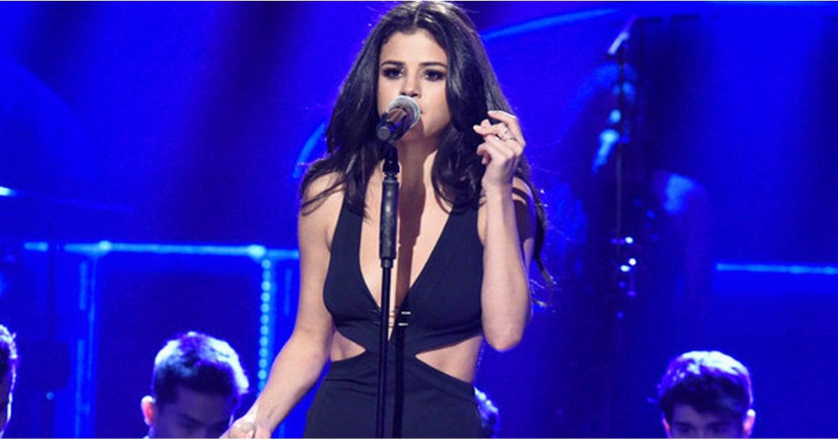 Selena Gomez's Black Slit Dress on SNL
