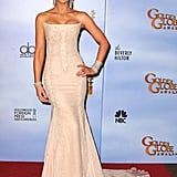 Kate Beckinsale looked breathtaking in this Roberto Cavalli chantilly-lace gown at the Golden Globes in 2012.