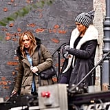Jennifer Lopez and Leah Remini Filming Second Act Pictures