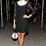 Harley Viera-Newton looked lovely in her black lace design at the DVF afterparty.