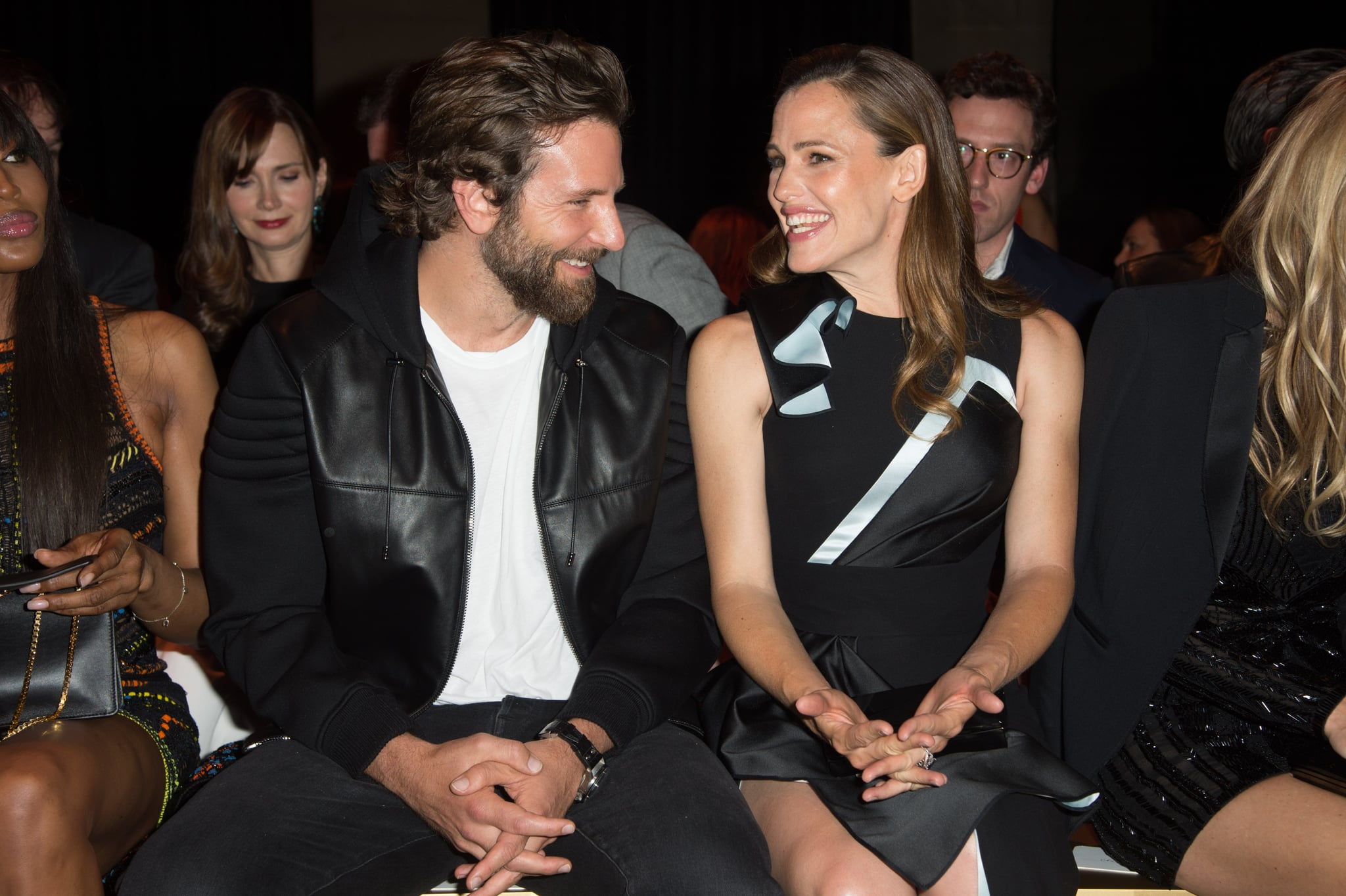 PARIS, FRANCE - JULY 03:  (L-R) Actors Bradley Cooper and Jennifer Garner attend the Versace Haute Couture Fall/Winter 2016-2017 show as part of Paris Fashion Week  on July 3, 2016 in Paris, France.  (Photo by Stephane Cardinale - Corbis/Corbis via Getty Images)