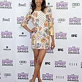 Zoe Saldana was all legs at the Independent Spirit Awards in February, wearing a colorful Balmain mini and nude heels.