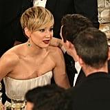 Jennifer Lawrence gazed into her boyfriend Nicholas Hoult's eyes. Source: Christopher Polk/NBC/NBCU Photo Bank/NBC