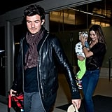 Miranda Kerr arrived at LAX with son Flynn Bloom and husband Orlando Bloom.