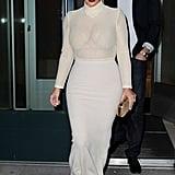 Kim Kardashian in White Mesh Top and Long Skirt
