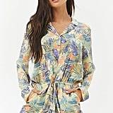 Forever 21 Satin Tropical Pajama Romper