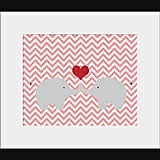 Animals get a contemporary upgrade with the zigzag pattern on this elephant love print ($13).