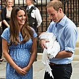 The couple glowed while introducing Prince George to the world in July 2013.