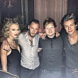 Taylor Swift and Harry Styles — gasp! — posed for a photo together at a VMA afterparty, although they were joined by mutual pals Ed Sheeran and DJ Spiky Phil. Source: Instagram user spikyphil