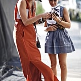 We can't get enough of Miroslava Duma's sweet combinations — or coordinating prints here (at right). At left, we're drawn to the gorgeous maxi in motion. Source: Greg Kessler