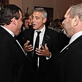 George Clooney got animated while telling a story.