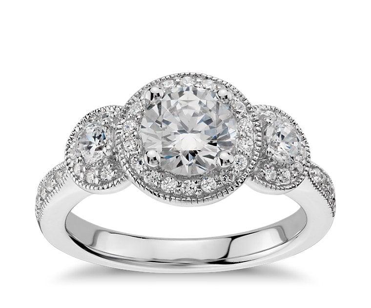 Blue NIle Three Stone Milgrain Halo Engagement Ring ($1,475 for setting)