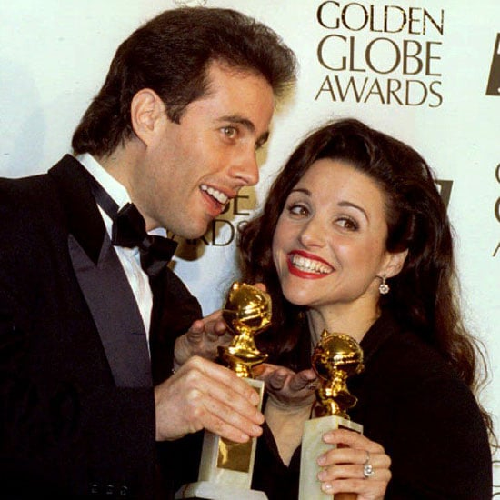 Jerry Seinfeld and his Seinfeld co-star Julia Louis-Dreyfus posed backstage with their statues for best actor and best supporting actress in 1994.