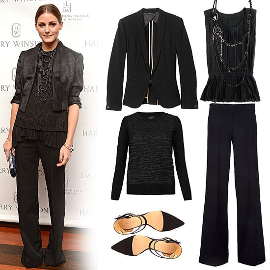 As an alternative to the usual cocktail wear, Olivia Palermo styled up a deconstructed suit look, looking to textured layers and subtle sparkle for added intrigue. We especially love the black pearls to finish it off. Get the look:  Rag and Bone Sliver Tuxedo ($495) J.Crew Accordian Pleat Top ($45) Isajon Black Crystal Bow Necklace ($521) AllSaints Armatura Pullover ($195) P.A.R.O.S.H Wide Trouser ($341) L.A.M.B. Women's Oxley Platform Pump ($285)