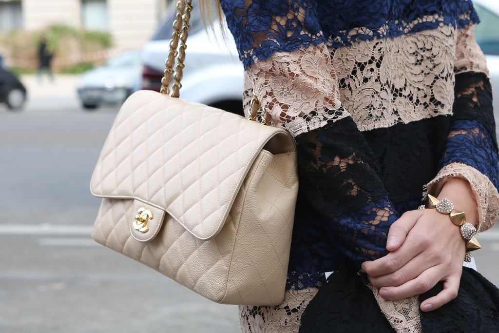 Chanel was PFW's bag of choice — we love this one's buttery neutral hue.