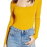 BP. Square Neck Long Sleeve Bodysuit