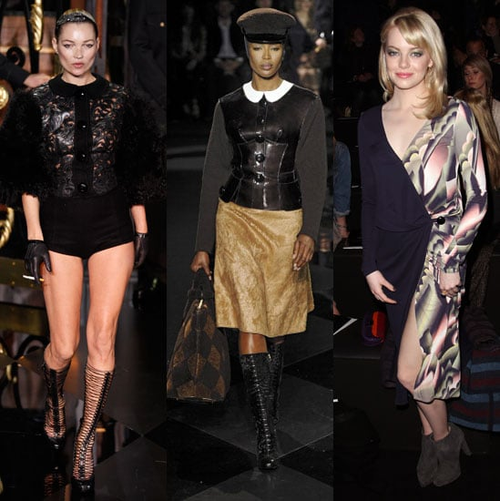 Pictures of Kate Moss and Naomi Campbell Walking the Runway For Louis Vuitton and Emma Stone