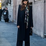 Jazz Up an All-Black Ensemble With a Printed Skinny Scarf